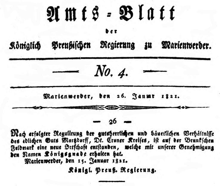 Seite aus dem Amts-Blatt der Königl. Regierung zu Marienwerder Nr. 4/1821